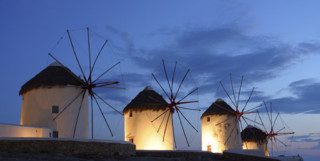 Windmills Against the Mykonos Skyline