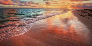 Colourful sunset beach