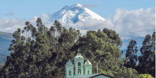 Church in front of volcano, Ecuador