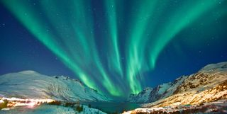 the northern lights over Swedish Lapland