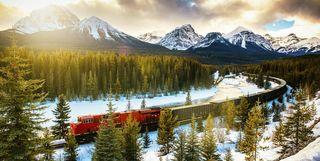 Canadian Pacific Rail Running Through Banff National Park