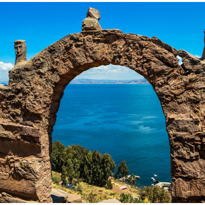 Tiwanku Ruin with View on Lake Titicaca