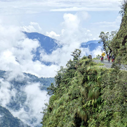 People Cycling on the Yungas Death Road