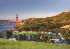 Views of the Golden Gate Bridge at Cavallo Point, luxury hotel in the Big Sur
