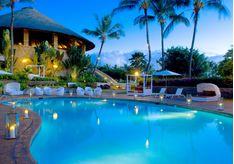 The pool at night at Hotel Wailea, luxury hotel in Hawaii