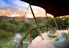 Balcony with landscape views at Marataba, luxury safari lodge in South Africa