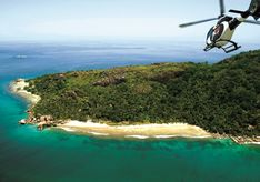 Arriving to Felicite Island by helicopter