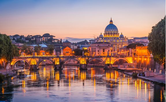 Evening view of the Vatican City