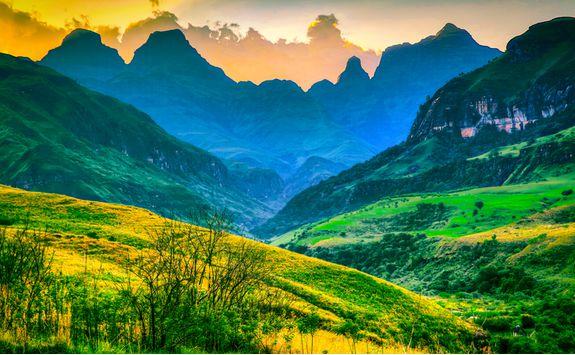 Drakensberg Mountains at sunset