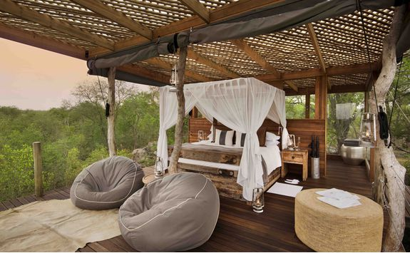 Bed in a treehouse