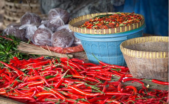 Red chillies in Bali cooking class