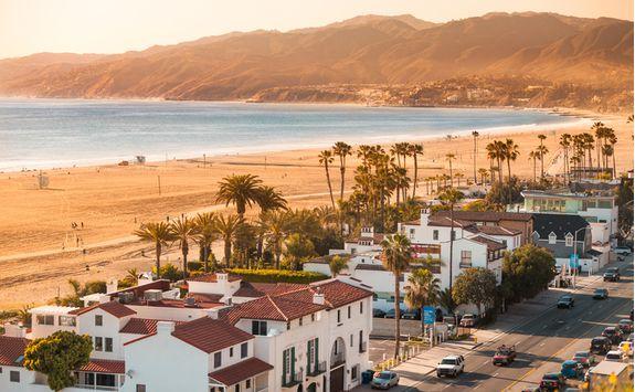 santa monica beach aerial view
