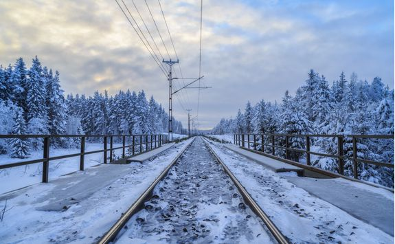 Explore the snowy train tracks