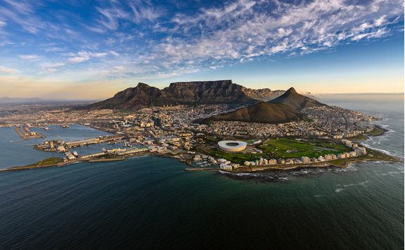An aerial shot of Cape Town