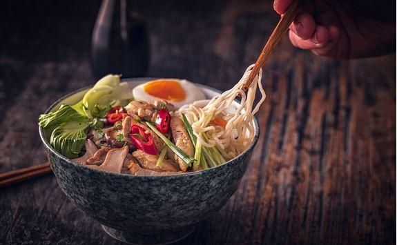A bowl of Sapporo ramen noodles