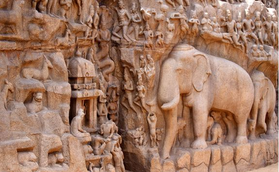 Mahabalipuram stone elephant detail