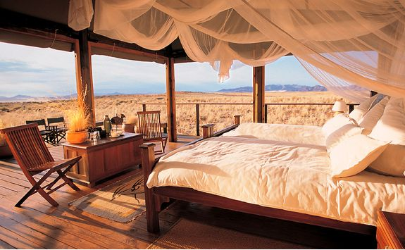 A bedroom view from Wolwedans Dune Lodge