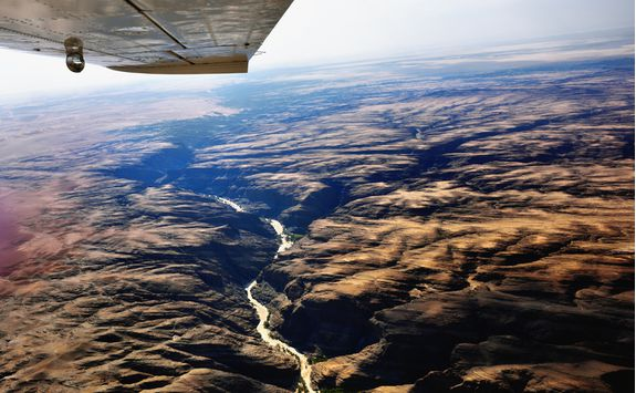 Flying over the Damaralands in a plane