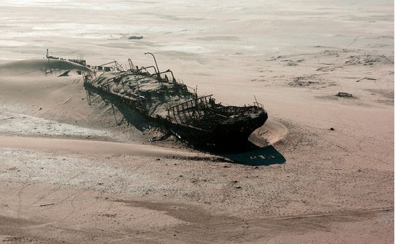 A shipwreck on the Skeleton Coast