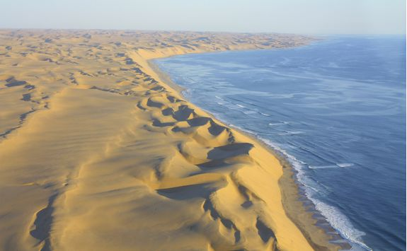 An aerial view from a plane of the Skeleton Coast