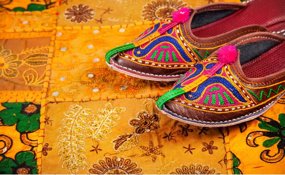 Udaipur market colourful shoes