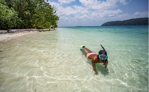 Snorkelling on a beach in the Andamans