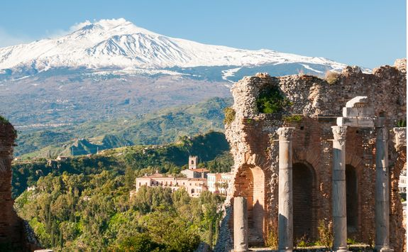 Snow capped Mount Etna
