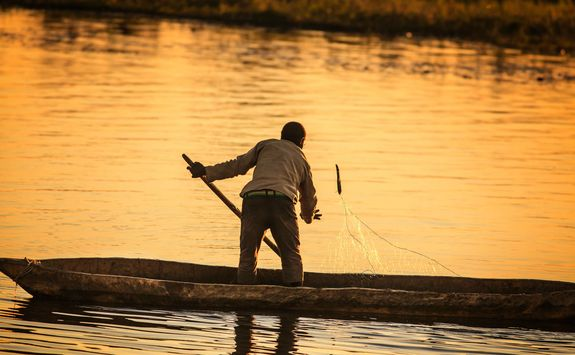Man fishing in the Okavango