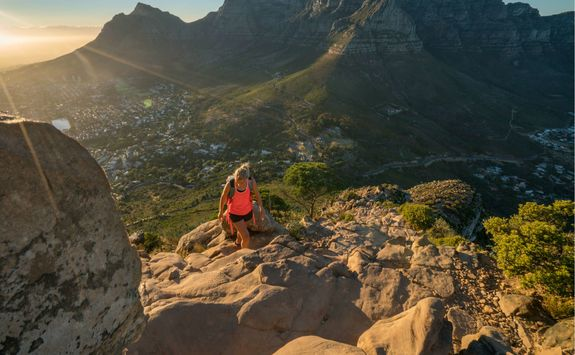 Woman hiking up Table Mountain
