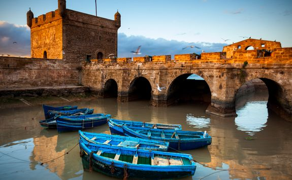 Harbour and blue boats at Essaouira