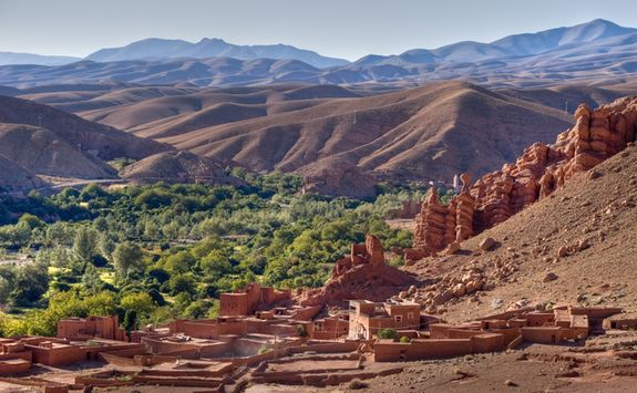 Atlas Mountains With Berber Village In Foreground