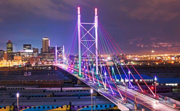 Nelson Mandela Bridge by night