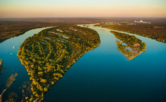 Aerial view of Zambezi river