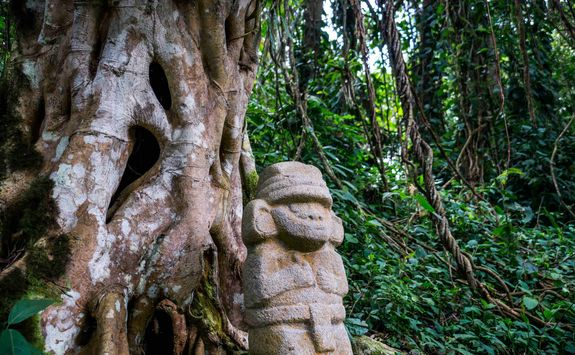 Statue in the rainforest