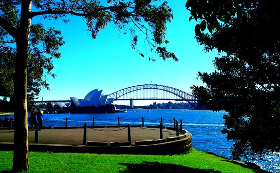 View to the Opera House and Harbour Bridge in Sydney