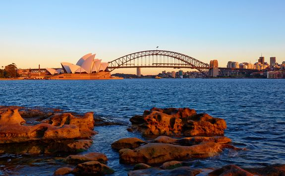 Opera House and Harbour Bridge - sunset view