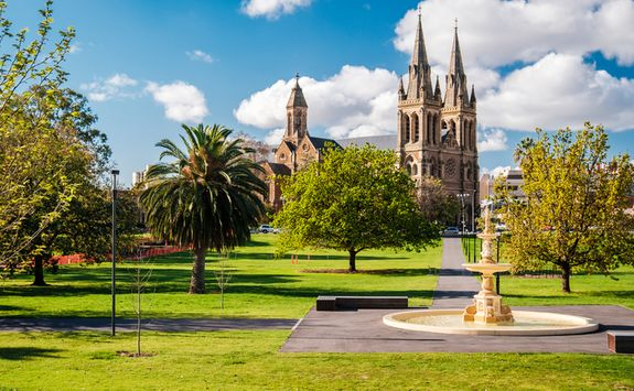 Park and church view in Adelaide