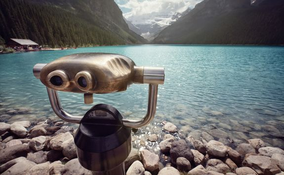 Binoculars overlooking Lake Louise