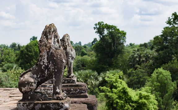 Stone lions in Angkor