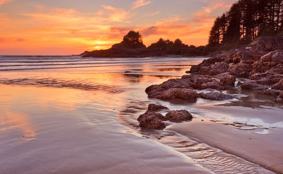 Vancouver Island beach at sunset