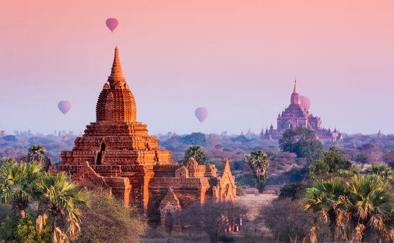 hot air balloons over Bagan Temples