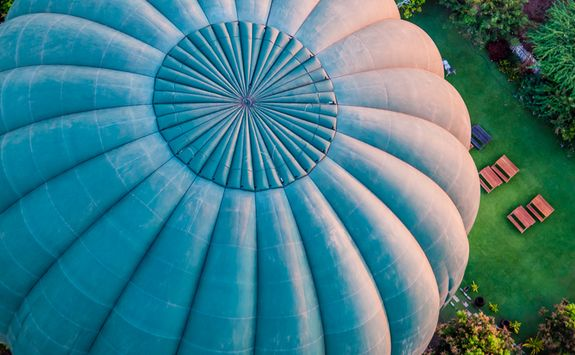 Close up of hot air balloon from above