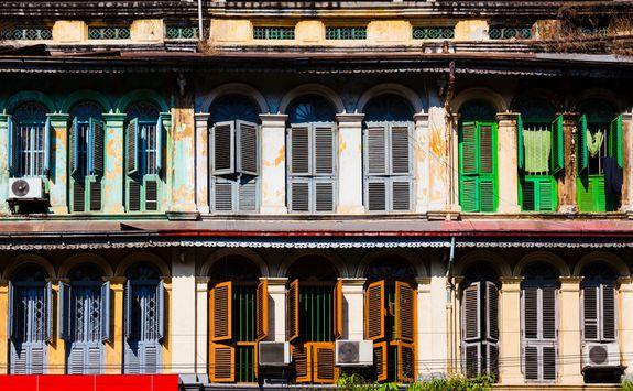 Colonial shutters in Yangon