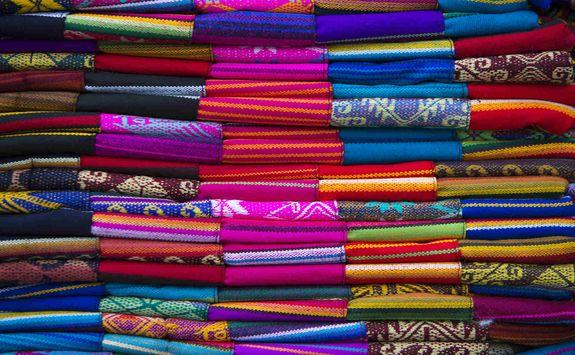 Colourful fabrics in a Peruvian market
