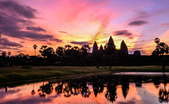 Pink Sky over Angkor Wat