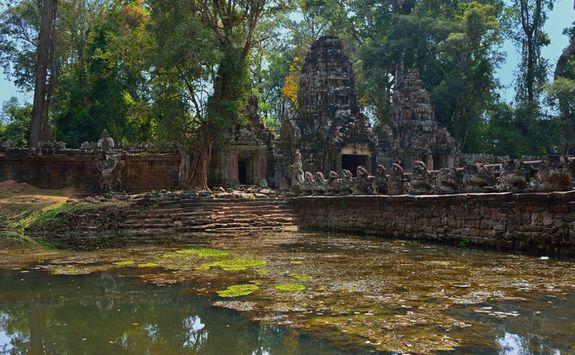 A moat at Angkor Thom temple