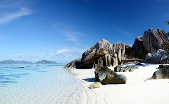 Rocks on a beach in the Seychelles