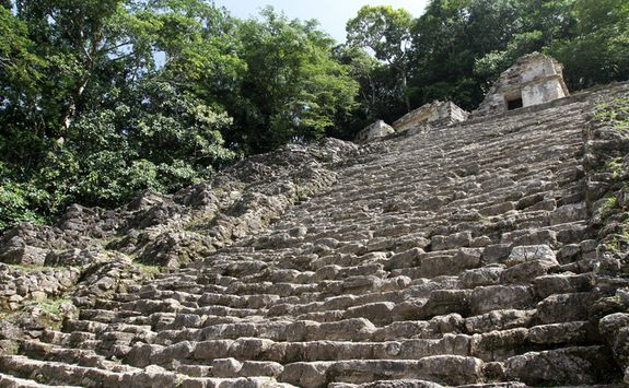 ancient steps up a ruin at Bonampak