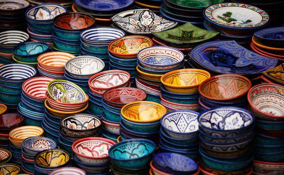 Colourful ceramic plates