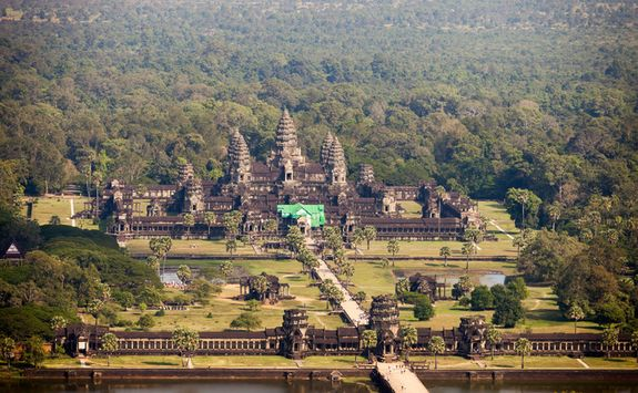 Aerial view of Angor Wat